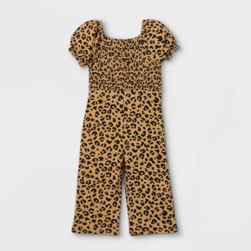 Toddler Girls' Smocked Short Sleeve Jumpsuit - Art Class Tan/black