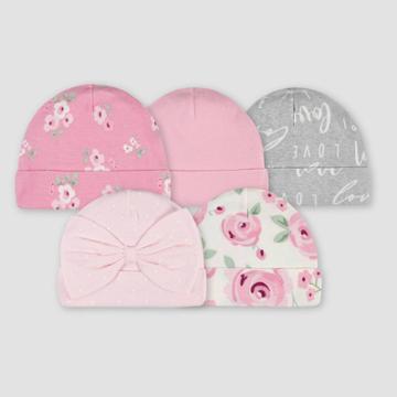 Gerber Baby Girls' 5pk Floral Caps - Pink/gray
