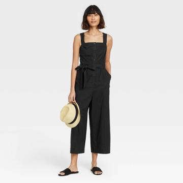 Women's Sleeveless Button-front Jumpsuit - A New Day Black