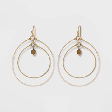 Double Open Circle Drop With Semi-precious Jasper Bead Earrings - Universal Thread Natural, Women's