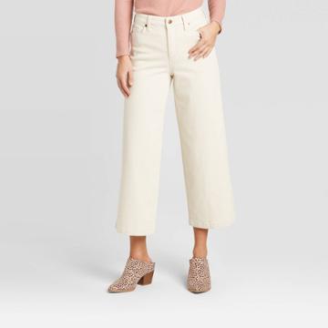 Women's High-rise Wide Leg Cropped Regular Fit Jeans - Universal Thread Cream 00, Women's, Beige
