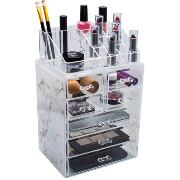 Sorbus Marble Cosmetic Makeup And Jewelry Storage Case (3 Large, 4