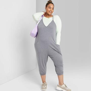 Women's Plus Size Sleeveless V-neck Knit Jumpsuit - Wild Fable Heather Gray 1x, Women's, Size: