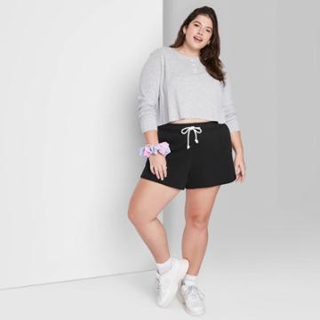 Women's Plus Size Super-high Rise Dolphin Shorts - Wild Fable Black