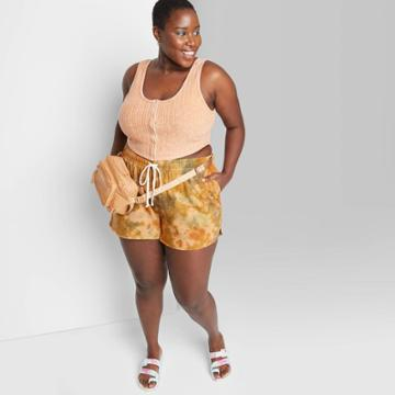 Women's Plus Size High-rise Dolphin Shorts - Wild Fable Taupe Tie-dye 1x, Brown Tie-dye