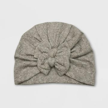 Baby Girls' Double Bow Turban Hat - Cat & Jack Heather Gray 0-6m, Gray/grey
