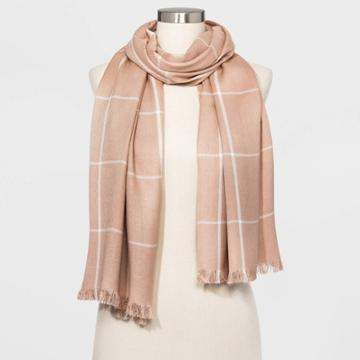 Women's Window Pane Oblong Scarf - A New Day Brown One Size, Women's