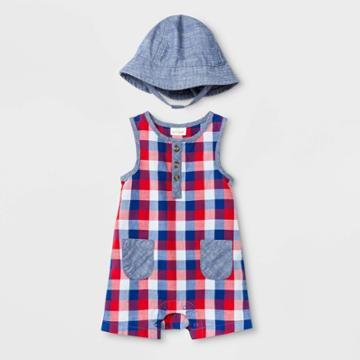 Baby Boys' Woven Plaid Rompers With Hat - Cat & Jack Navy Newborn, Boy's,