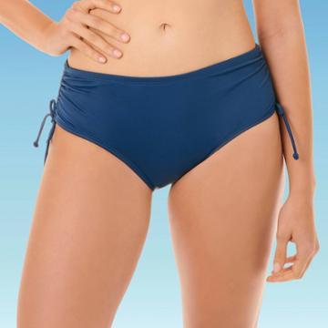 Women's Slimming Control Side-tie Shirred Bikini Bottom - Beach Betty By Miracle Brands Navy Blue S, Women's,