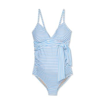 Maternity Striped Front-tie One Piece Swimsuit - Isabel Maternity By Ingrid & Isabel Blue/white