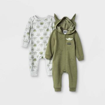 Disney Baby Boys' 2pk Star Wars Baby Yoda Knit Long Sleeve Jumpsuits - Olive Green Newborn