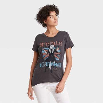 Cruella De Vil Women's Disney Cruella Uk Flag Short Sleeve Graphic T-shirt - Black