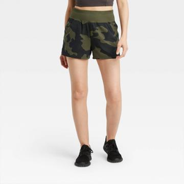 Women's Knit Waist Camo Print Stretch Woven Shorts - All In Motion Deep Olive Xs, Green Green/green Print