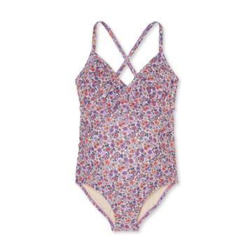 Maternity Floral Print Flounce Neck One Piece Swimsuit - Isabel Maternity By Ingrid & Isabel S D/dd Cup, Pink/purple