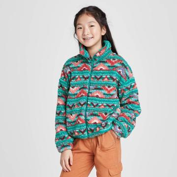 Girls' Front-zip Fuzzy Jacket - Art Class S, Girl's, Size: Small,