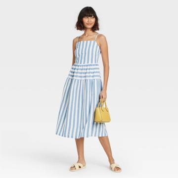 Women's Striped Tiered Tank Dress - Universal Thread Blue