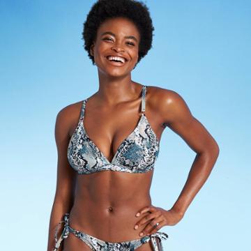 Women's Triangle Bralette Bikini Top - Shade & Shore Blue Snake Print D/dd Cup