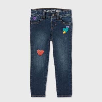 Toddler Girls' Heart Patch Skinny Jeans - Cat & Jack Blue