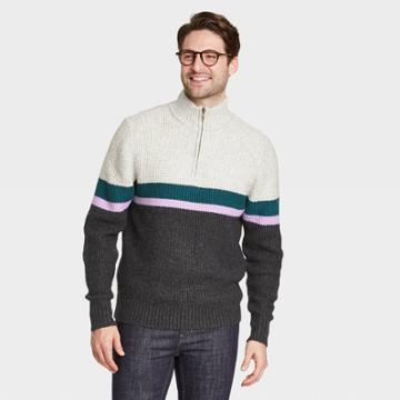 Men's Regular Fit Zip-up Crewneck Striped Pullover Sweater - Goodfellow & Co Gray