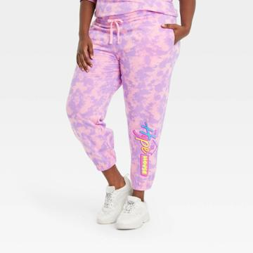 Modern Lux Women's Plus Size Hype House Graphic Jogger Pants - Pink
