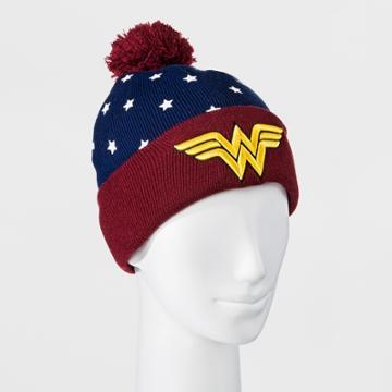 Target Men's Wonder Woman Beanie With Pom - Navy (blue)/red