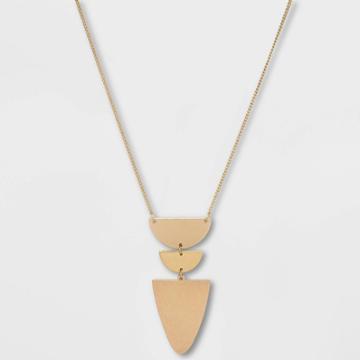 Flat Geometric Brass And Worn Gold Pendant Necklace - Universal Thread Gold, Women's