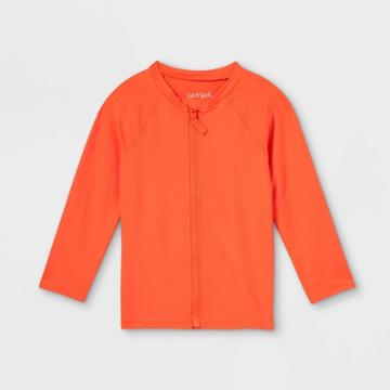 Toddler Boys' Zip-up Long Sleeve Rash Guard Swim Shirt - Cat & Jack Orange