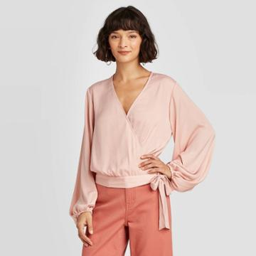 Women's Balloon Long Sleeve Wrap Top - A New Day Pink