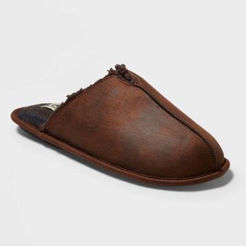 Men's Dluxe By Dearfoams Fenton Slide Slippers - Brown L(11-12), Size: