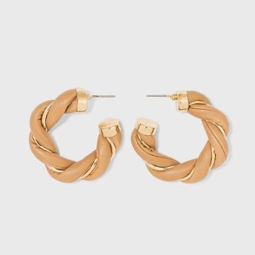 Faux Leather Twisted Hoop Earrings - A New Day Tan