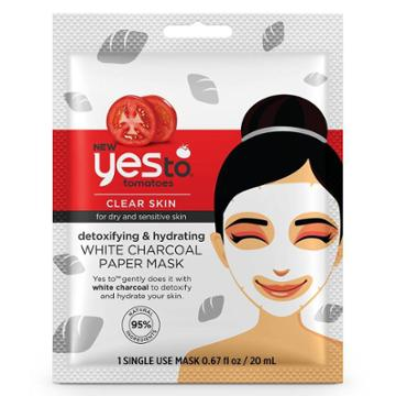 Yes To Tomatoes Detoxifying & Hydrating White Charcoal Paper Mask - 1ct/0.67 Fl Oz