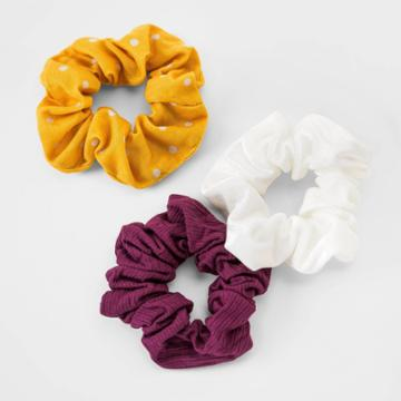 Girls' 3pk Scrunchie With Dotted Hair Elastic - Cat & Jack