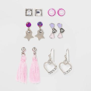 Girls' Multi Earring Set With Tassel And Heart - Cat & Jack