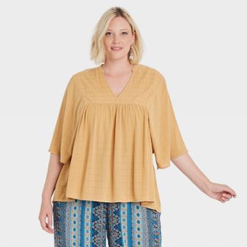 Women's Plus Size Flutter Short Sleeve V-neck Blouse - Knox Rose Yellow