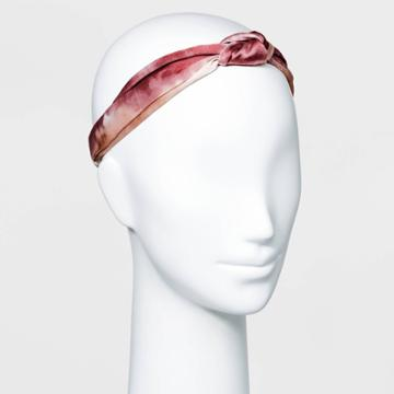 Printed Fabric With Front Knot And Elastic Back Headwrap - A New Day Rust