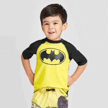 Toddler Boys' Batman Rash Guard - Black 2t, Toddler Boy's,