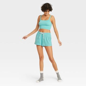 Women's French Terry Lounge Shorts - Colsie Blue