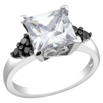 Target Black And White Cubic Zirconia Silver Bridal Ring