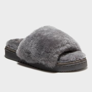 Women's Dluxe By Dearfoams Sutton Genuine Shearling Slide Slippers - Gray