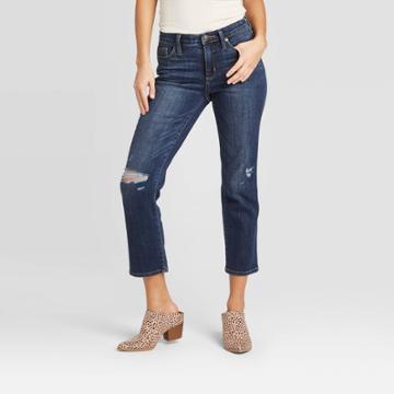 Women's High-rise Cropped Distressed Straight Jeans - Universal Thread Dark Wash 00, Women's, Blue