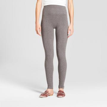 Women's Heathered Cotton Blend Fleece Lined Seamless Legging With 5 Waistband - A New Day Gray Heather S/m, Heather Gray
