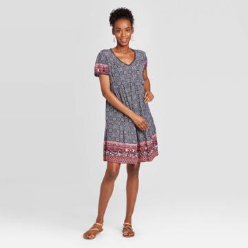 Women's Printed Short Sleeve Dress - Knox Rose Navy M, Women's, Size: