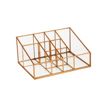 10x7.5x4.75 9 Compartment Glass & Metal Vanity Organizer Copper Finish - Threshold