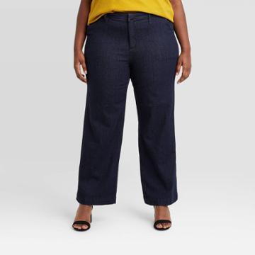 Women's Plus Size High-rise Wide Leg Denim Trouser - Ava & Viv Dark Wash