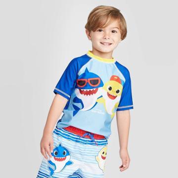Toddler Boys' Baby Shark Rash Guard - Blue 2t, Infant Boy's,