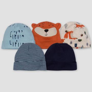 Gerber Baby Boys' 5pk Fox Caps - Off-white/brown/blue