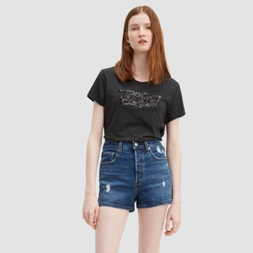 Petitelevi's Women's Perfect Logo Short Sleeve Crewneck T-shirt - Meteorite Sequins - L, Women's,