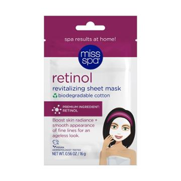 Miss Spa Retinol 100% Cotton Biodegradable Sheet Mask - 4pk/0.56 Fl Oz