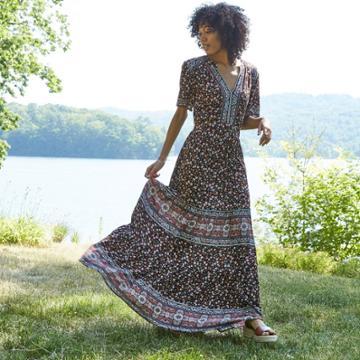 Women's Floral Mixed Print Short Sleeve Dress - Knox Rose Black