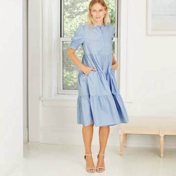 Women's Short Puff Sleeve Tiered Babydoll Dress - Who What Wear Blue
